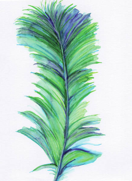Wall Art - Painting - Blue Feather II by Anne Seay