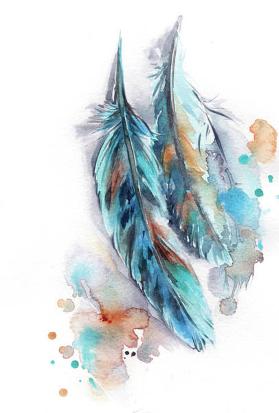 Wall Art - Painting - Blue Feather by Sophia Rodionov