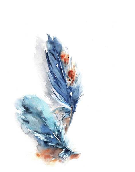 Wall Art - Painting - Blue Feathers II by Sophia Rodionov