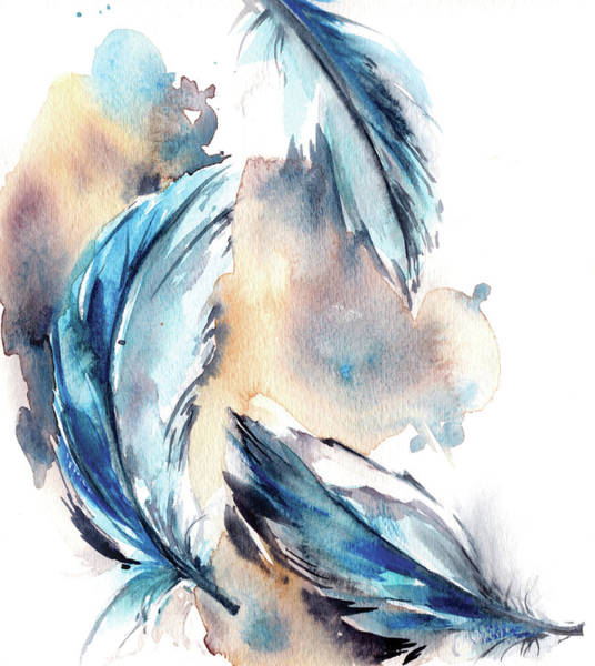 Wall Art - Painting - Blue Feathers by Sophia Rodionov