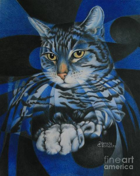 Painting - Blue Feline Geometry by Pamela Clements