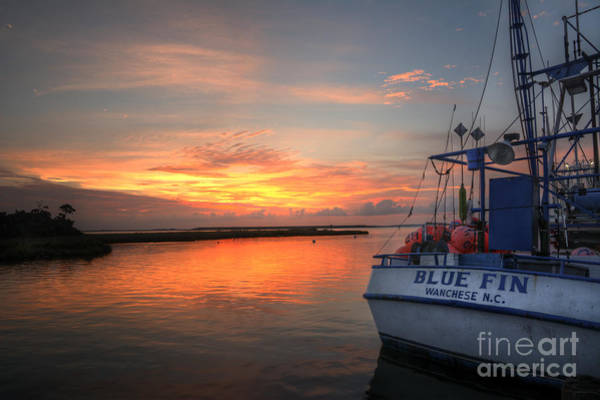 Fisher Island Photograph - Blue Fin Morning by Terry Rowe