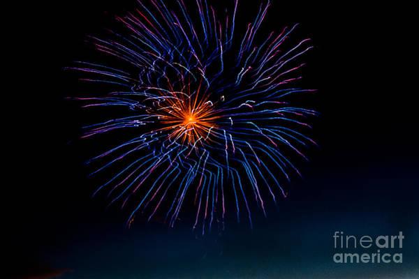 Fireworks Show Wall Art - Photograph - Blue Firework Flower by Robert Bales