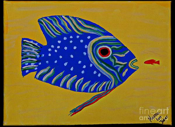 Protein Painting - Blue Fish by Marcia Lee Jones