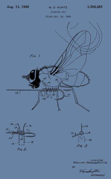 Fishing Pole Digital Art - Blue Fishing Fly Patent by Dan Sproul