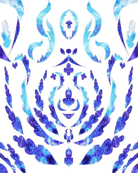 Painting - Blue Floral Pattern I by Irina Sztukowski
