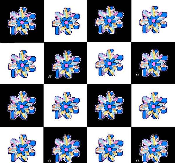 Mixed Media - Blue Flower Dance by Ann Calvo
