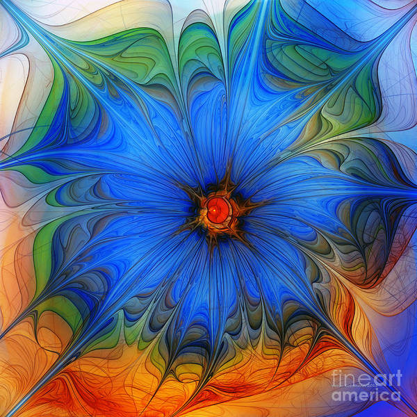 Fractal Landscape Digital Art - Blue Flower Dressed For Summer by Karin Kuhlmann