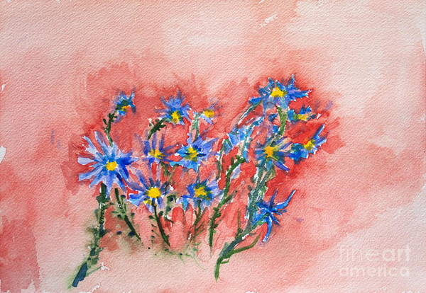 Painting - Blue Flowers by Walt Brodis