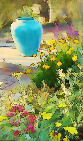 Blue Garden Pot Art Print