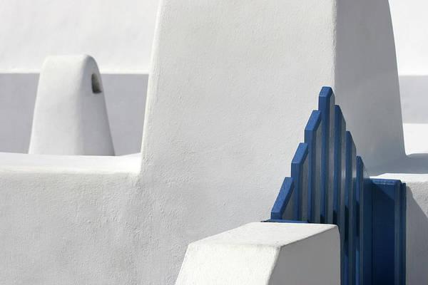 Greek Photograph - Blue Gate by Hans-wolfgang Hawerkamp