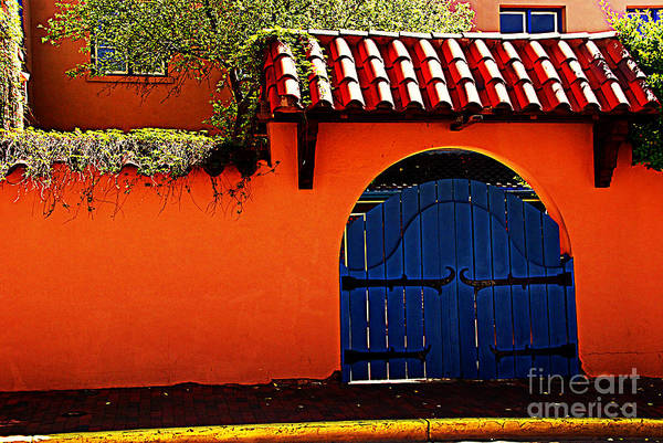 Photograph - Blue Gate In Santa Fe by Susanne Van Hulst