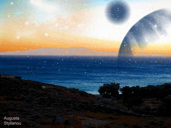 Photograph - Blue Giant Planet Rising From The Sea by Augusta Stylianou
