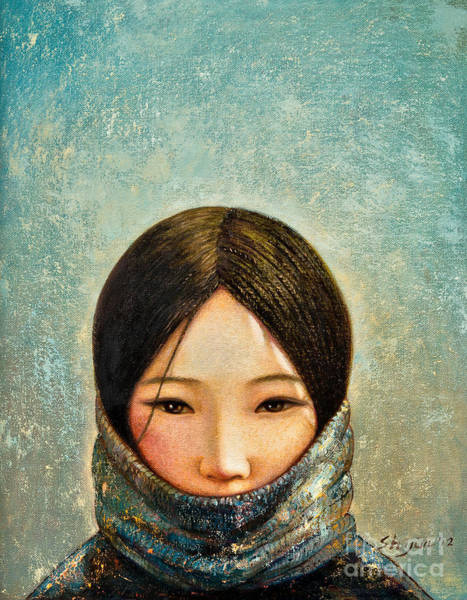 Tibetan Wall Art - Painting - Blue Girl by Shijun Munns