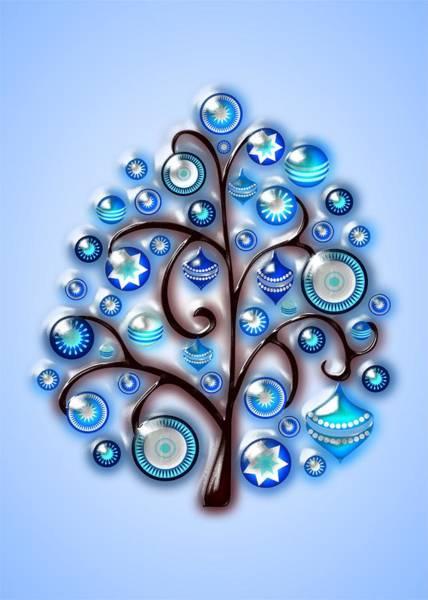 Digital Art - Blue Glass Ornaments by Anastasiya Malakhova