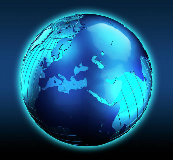 Northern India Photograph - Blue Globe Focused On The Middle East by Ikon Ikon Images