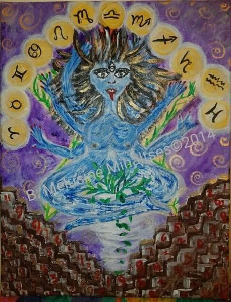B. Melusine Mihaltses Wall Art - Painting - Blue Goddess Of Time And Symbolism by B Melusine Mihaltses