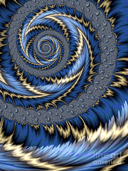 Wall Art - Digital Art - Blue Gold Spiral Abstract by John Edwards