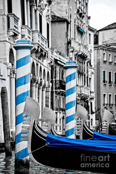 Gondola Photograph - Blue Gondolas by Delphimages Photo Creations