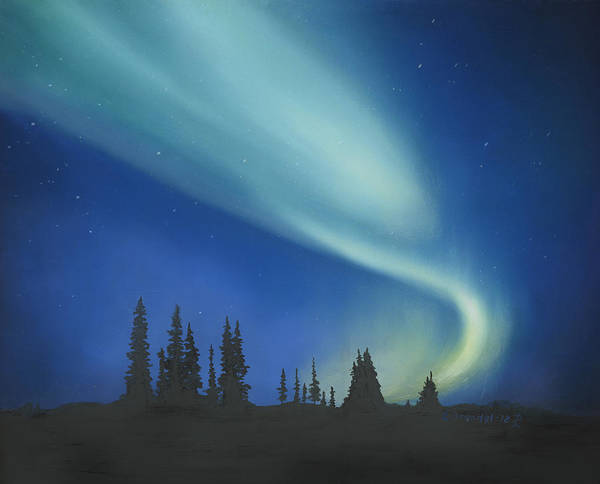 Wall Art - Painting - Blue Green Aurora Borealis by Cecilia Brendel