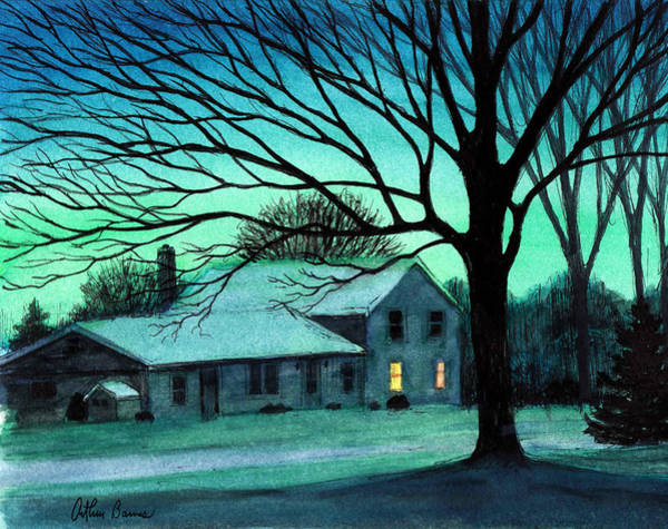 Ashes Painting - Blue Green Evening by Arthur Barnes
