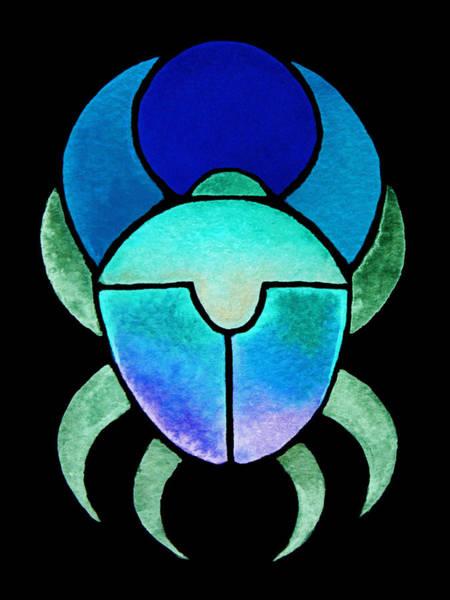 Mixed Media - Blue Green Scarab by Elizabeth Lock