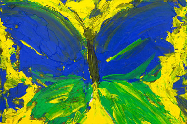 Painting - Blue Green Yellow Butterfly by Patricia Awapara