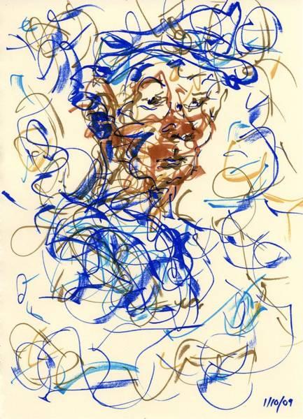 Drawing - Blue Hat by Rachel Scott