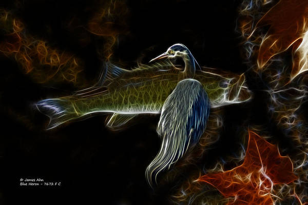 Digital Art - Blue Heron Bass - 7672 - F C by James Ahn