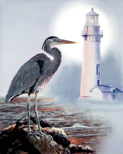 Gina Femrite Wall Art - Painting - Blue Heron In The Circle Of Light by Regina Femrite