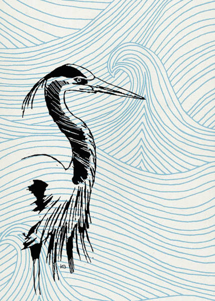 Digital Art - Blue Heron On Waves by Konni Jensen
