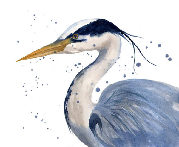 Waterfowl Wall Art - Painting - Blue Heron Painting by Alison Fennell