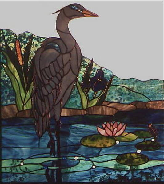 Glass Art - Blue Heron by Sherri Anderson