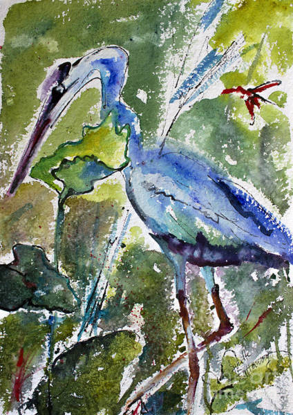 Painting - Blue Heron Stalking Watercolor by Ginette Callaway