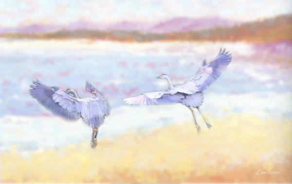Photograph - Blue Herons At Sunrise by Diana Haronis
