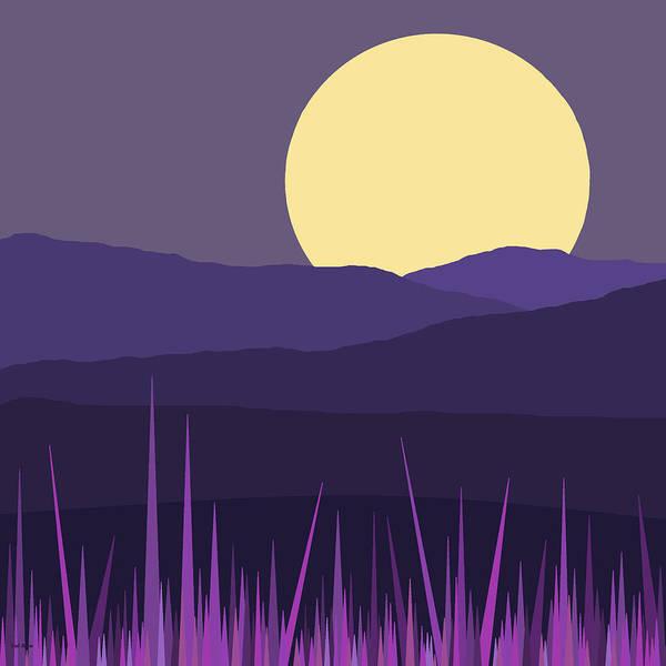 Digital Art - Blue Hills - Lavender Sky by Val Arie