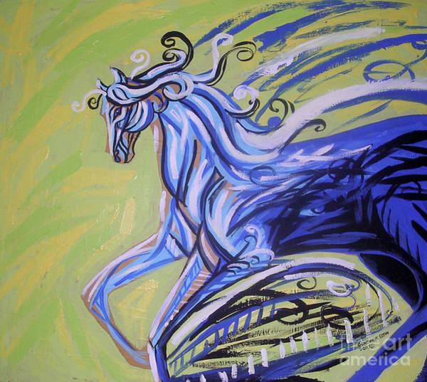 Arabians Painting - Blue Horse by Genevieve Esson