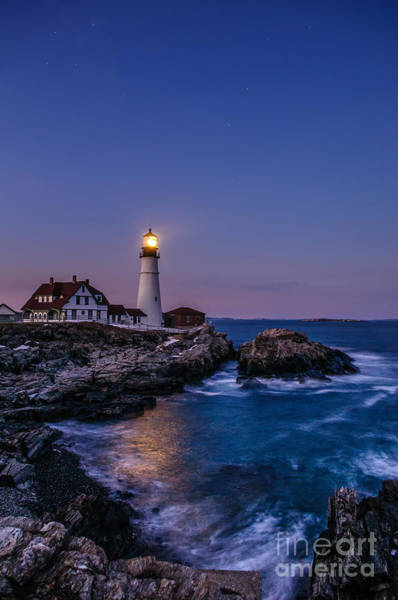 Casco Bay Photograph - Blue Hour At Portland Head Lighthouse by Scott Thorp
