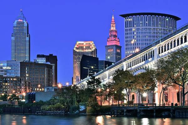 Metro Detroit Photograph - Blue Hour In Cleveland by Frozen in Time Fine Art Photography
