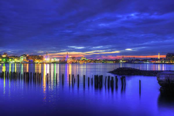 Photograph - Blue Hour Over Boston Harbor 2 by Joann Vitali