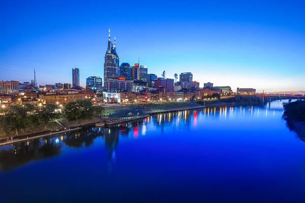 Ryman Auditorium Photograph - Blue Hour Over Nashville by Erwin Spinner