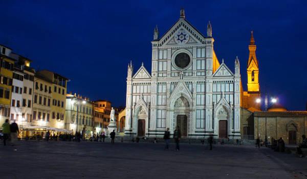 Photograph - Blue Hour - Santa Croce Church Florence Italy by Georgia Mizuleva