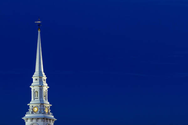 Photograph - Blue Hour Steeple by Jeff Sinon