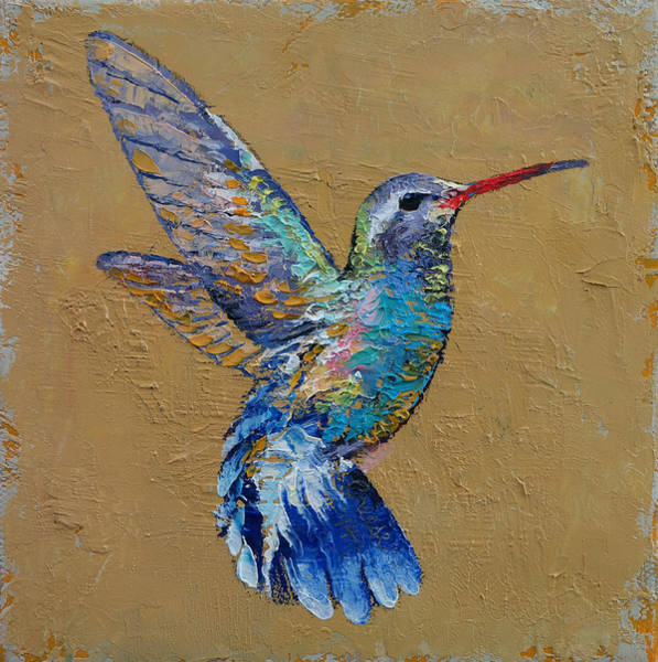 Umber Painting - Turquoise Hummingbird by Michael Creese