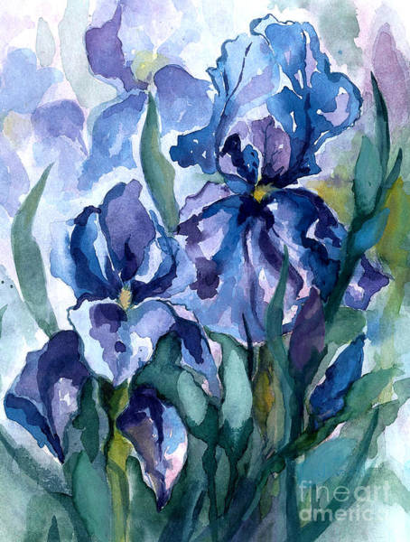 Wall Art - Painting - Blue Iris by Barbara Jewell