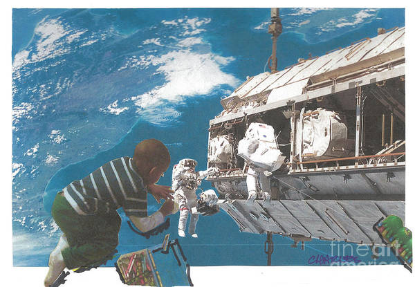 Space Station Mixed Media - Blue Is My World by Charles M Williams