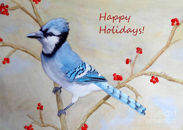 Painting - Blue Jay Happy Holidays by Laurel Best