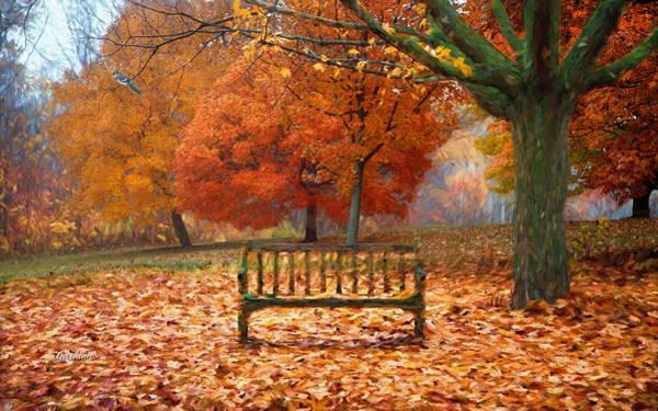 Park Bench Mixed Media - Blue Jay On Green Tree by Garland Johnson