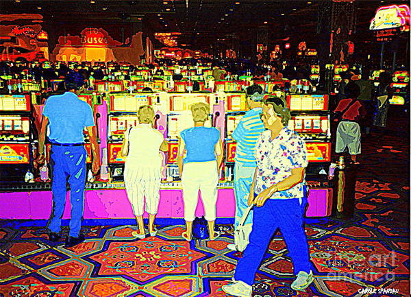 Painting - Blue Jean Granny Takes The Purse Representing Older Ladies Everwhere Todays Casino Jackpot Winner by Carole Spandau