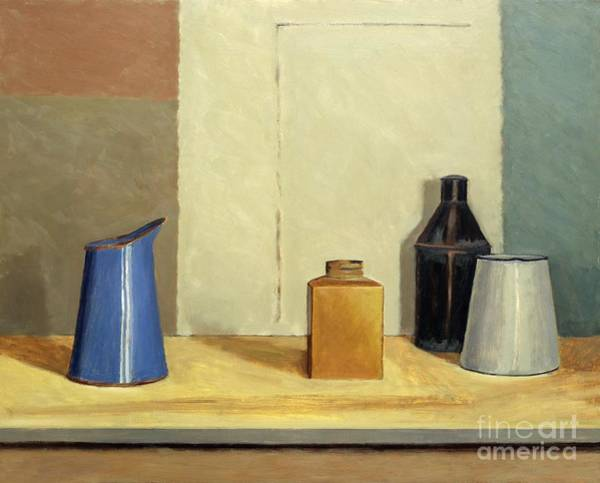 Flask Wall Art - Painting - Blue Jug Alone by William Packer